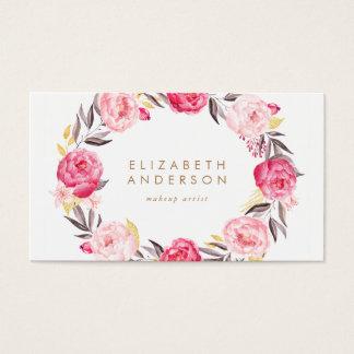 Pink Flowers Peonies Business Card