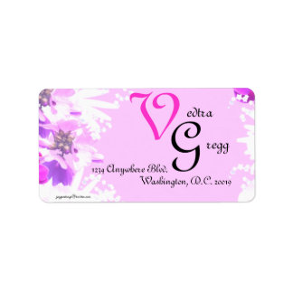 Pink Flowers Personlized Label Address Label
