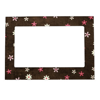 Pink flowers picture frame magnet