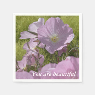 Pink Flowers positive Quote Paper Napkins Disposable Napkin