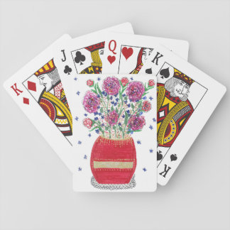 Pink Flowers / Red Vase Playing Cards