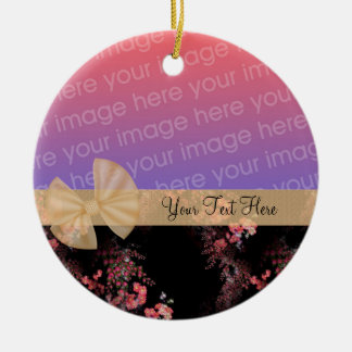 Pink Flowers Ribbon Photo Ornament