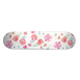 "Pink flowers romantic cool watercolor 7¾"" skateboard"