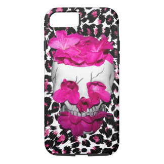Pink Flowers Skull on Pink Leopard Spots iPhone 7 Case