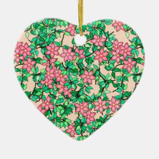 Pink flowers, soft peach background ceramic heart decoration