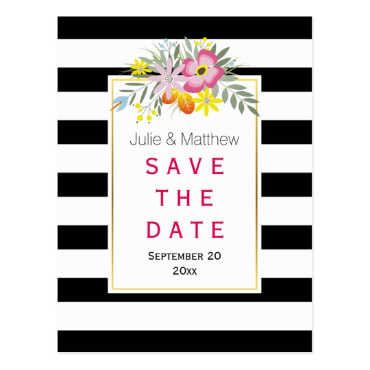 Pink flowers & stripes wedding Save the Date