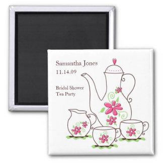 Pink Flowers Tea Set Bridal Shower Favor Magnets