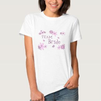 Pink Flowers Team Bride Wedding T-Shirt