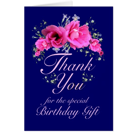 Pink Flowers Thank You for Birthday Gift Card