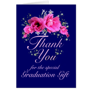 Pink Flowers Thank You for Graduation Gift Card