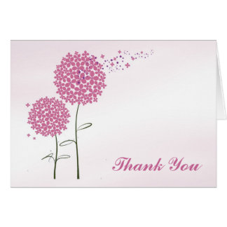 Pink Flowers Thank You Greeting Card