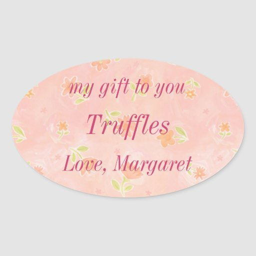 Pink Flowers Truffles Candies in a Jar Gift Label Stickers