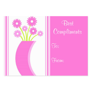 Pink flowers vase - Card Business Card Templates
