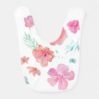 Pink Flowers Watercolor Baby Bib
