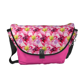Pink Flowers Watercolor Pattern Courier Bags