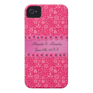 Pink flowers wedding favors iPhone 4 Case-Mate cases