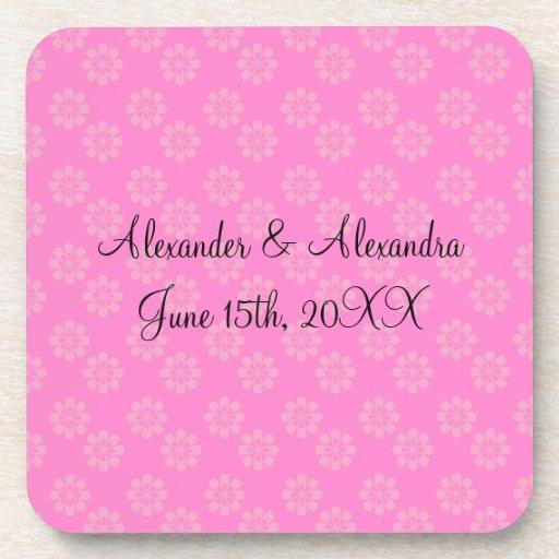 Pink flowers wedding favors coasters