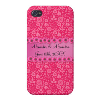 Pink flowers wedding favors iPhone 4 covers