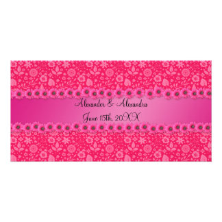 Pink flowers wedding favors picture card