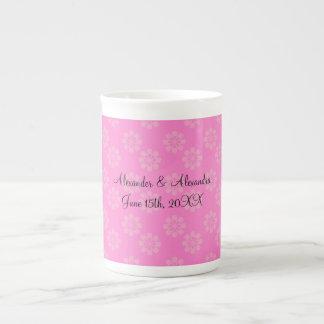 Pink flowers wedding favors porcelain mugs