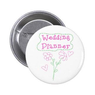 Pink Flowers Wedding Planner 6 Cm Round Badge