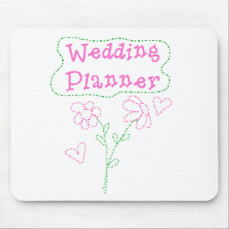Pink Flowers Wedding Planner Mouse Pads