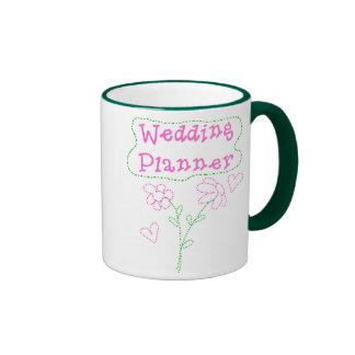 Pink Flowers Wedding Planner Ringer Mug