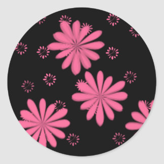 Pink Flowers With Black Background Round Sticker