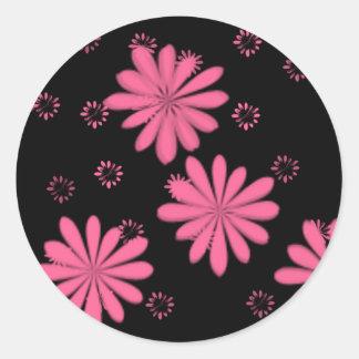 Pink Flowers With Black Background Round Sticker