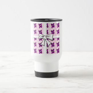 Pink Flowers with Bow Stainless Steel Travel Mug