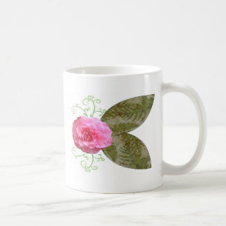Pink Flowers With Green Fabric Leaves Mug