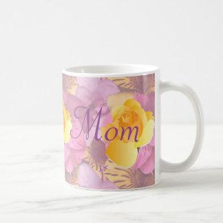 Pink Flowers Yellow Rose Mum Mug