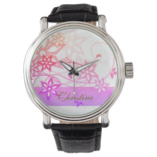 pink flowers, your name, vintage watch