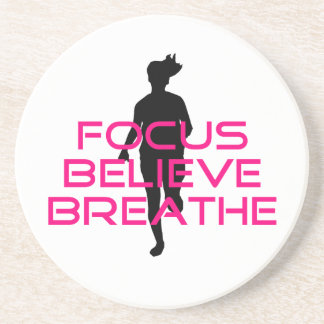 Pink Focus Believe Breathe Beverage Coasters