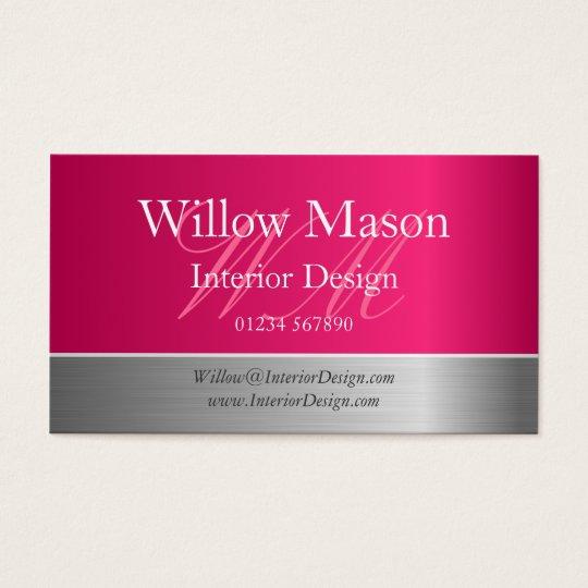 Pink Foil & Brushed Steel Monogram Business Card