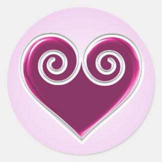 Pink Foil Heart Sticker