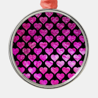 Pink Foil Hearts Christmas Ornament