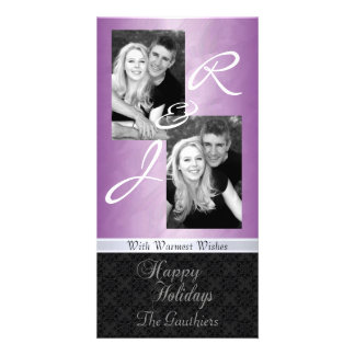 Pink Foil Lace Holiday Ribbon Photo Card