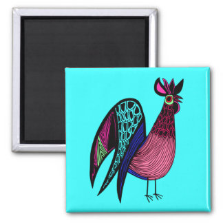Pink Folk Art Rooster Square Magnet