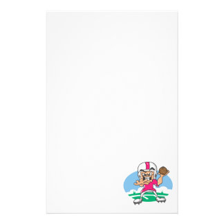 Pink Football Player Stationery Paper
