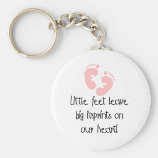 Pink Footprints Little Feet Big Imprints Basic Round Button Key Ring