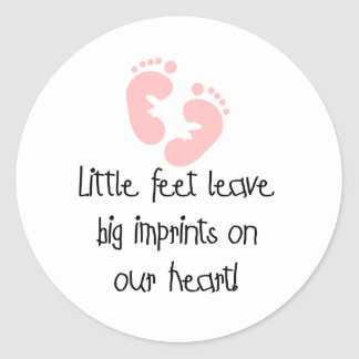 Pink Footprints Little Feet Big Imprints Classic Round Sticker