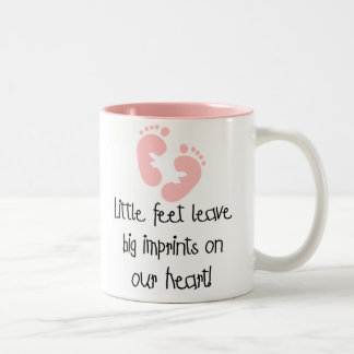 Pink Footprints Little Feet Big Imprints Two-Tone Coffee Mug