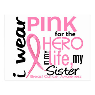 Pink For Hero In Life 2 Sister Breast Cancer Postcard
