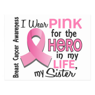 Pink For Hero In My Life 3 Sister Breast Cancer Postcard