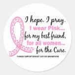 Pink For My Best Friend Filigree Pink Ribbon Round Sticker