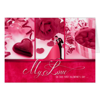 Pink for Wife Romantic 1st Valentine's Day Greeting Card