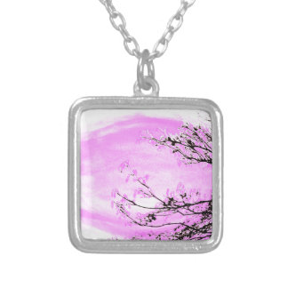Pink Forest design by Jane Howarth Silver Plated Necklace