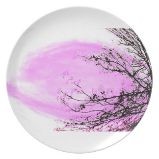 Pink Forest - dinner plate by Jane Howarth