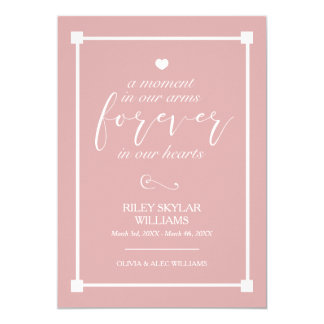 Pink Forever In Our Hearts Baby Memorial Card